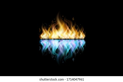 Fire in the black background
