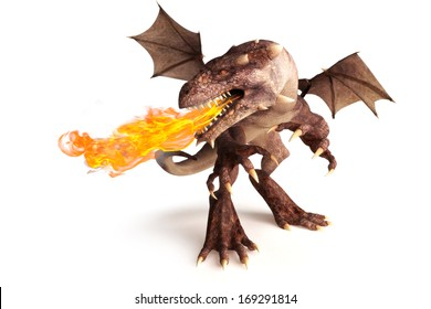 Fire breathing dragon on a white background. Room for text or copy space