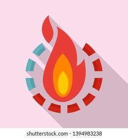 Fire burn calories icon. Flat illustration of fire burn calories icon for web design