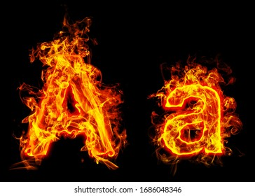 """Fire burning letter """"A¨ and ¨a"""""""