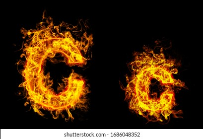 """Fire burning letter """"C¨ and ¨c"""""""