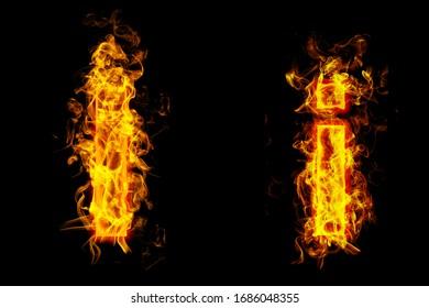 "Fire burning letter ""I¨ and ¨i"""
