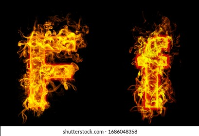 "Fire burning letter ""F¨ and ¨f"""