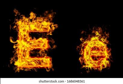 "Fire burning letter ""E¨ and ¨e"""