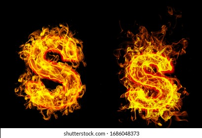 """Fire burning letter """"S¨ and ¨s"""""""