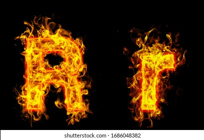 """Fire burning letter """"R¨ and ¨r"""""""