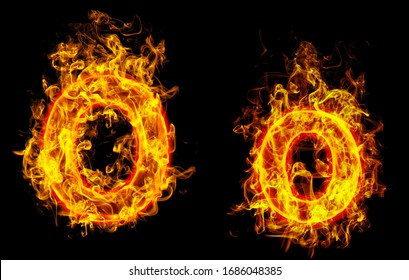 """Fire burning letter """"O¨ and ¨o"""""""