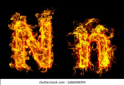 """Fire burning letter """"N¨ and ¨n"""""""