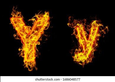 """Fire burning letter """"Y¨ and ¨y"""""""