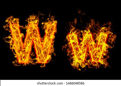 """Fire burning letter """"W¨ and ¨w"""""""