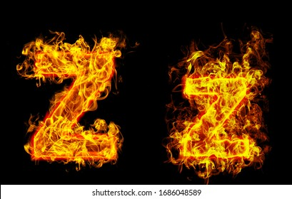 """Fire burning letter """"Z¨ and ¨z"""""""