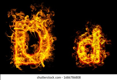 """Fire burning letter """"D¨ and ¨d"""""""