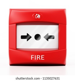 Fire button isolated on white background. 3D illustration.