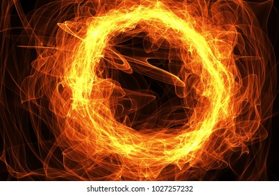 Fire circle with free space for text on dark background