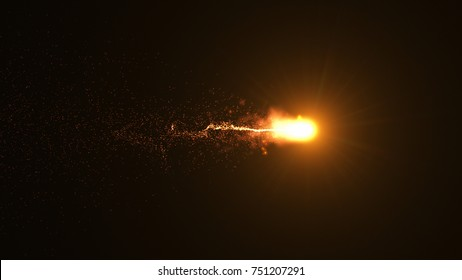Fire comet flying. Shining lights in motion with small particles. Ring of fire, Plasma ring on a dark background. 3D rendering, Abstract background.