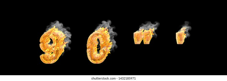 Fire and dark smoke numbers 9 and 0, apostrophe and quotations marks isolated on white color, fantasy magic fire concept font - 3D illustration of symbols
