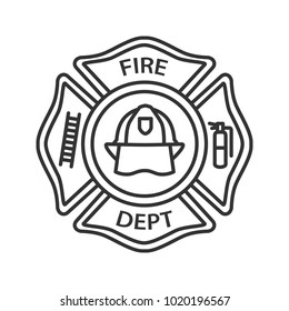 Fire department badge linear icon. Firefighting emblem with helmet, ladder and extinguisher. Thin line illustration. Contour symbol. Raster isolated outline drawing