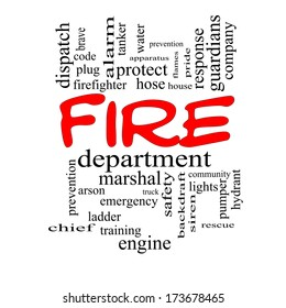 Fire Department Word Cloud Concept in red caps with great terms such as engine, truck, hose and more.