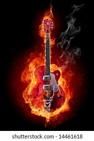 Fire electric guitar.  Look at other fire illustrations in my portfolio: burning letters, flowers, girls...