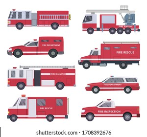 Fire engine. Collection with red emergency department lighting service van helicopter vehicles