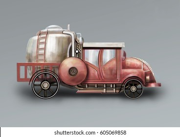 Fire engine, three-quarter. A fantastic steam-punk fire truck digital painting.