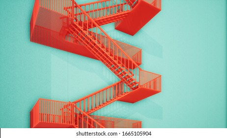 Fire escape on the green color building wall, 3d rendering orange stair design on the green wall.