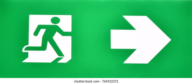 Fire exit doorway sign to escape from fire situation