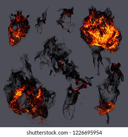 Fire explosions on gray background