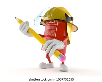 Fire extinguisher character holding pencil isolated on white background. 3d illustration
