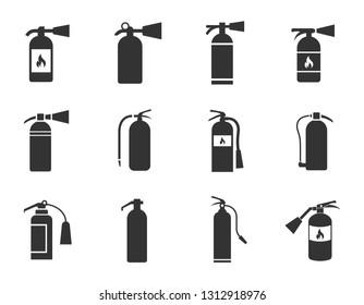 fire extinguisher icons set isolated on white background