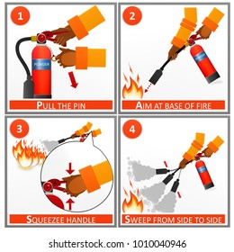 Fire extinguisher instruction labels set. Instruction extinguisher and protection of fire with extinguisher illustration.