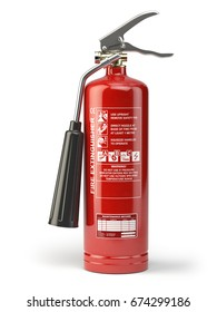 Fire extinguisher isolated on white background. 3d illustration.
