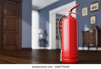 Fire extinguisher in luxury room or apartment. 3D illustration