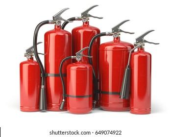 Fire extinguishers isolated on white background. Various types of extinguishers. 3d illustration.