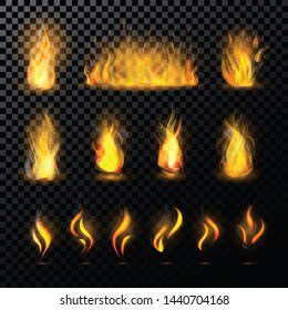 Fire flame fired flaming bonfire in fireplace and flammable campfire illustration fiery or flamy set with wildfire isolated on background