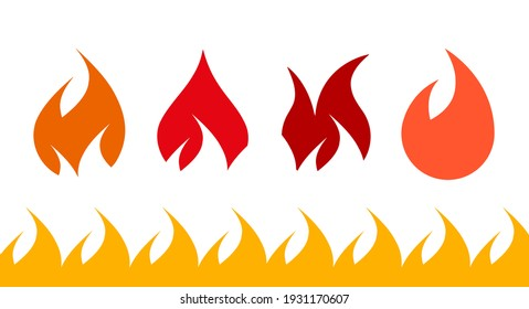 Fire flame icon set. Flat illustration isolated on white.