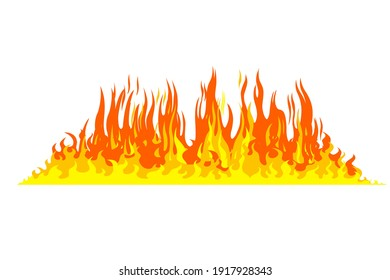 Fire flame isolated on white background. illustration design style