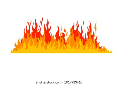 Fire flame isolated on white background. illustration design