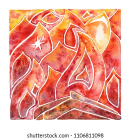 Fire. Flame. Natural element. Watercolor illustration.