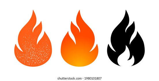 Fire, flame. Red flame in abstract style on white background. Flat fire collection set. Modern art isolated graphic. Fire sign. Illustration