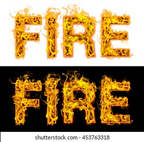 Fire flame with Fire text on black and white background. 3D rendering