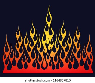 Fire flames, illustration colored in the red and yellow gradient, isolated on the black