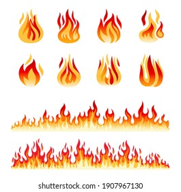 Fire flames isolated on white background. Fire borders. Cartoon flame and lights icons