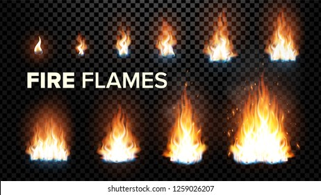 Fire Flames Set. Different Animation Stages. Burning Light With Sparks Effect. Fiery Heat And Bonfire Flares Design. Isolated Transparent Background Illustration