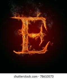 "Fire flaming letter ""E"""