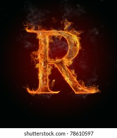 """Fire flaming letter """"R"""""""