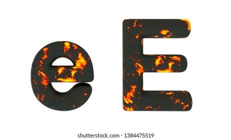 Fire font E 3d illustration. White background
