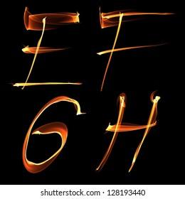 fire font letter e f g h on black background raster