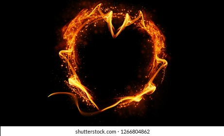 Fire glowing heart on isolated black background.  Heart shape with copyspace.