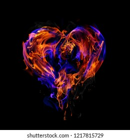 Fire heart isolated on black background